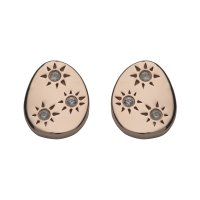 Unique - White Sapphire Set, Sterling Silver - Rose Gold Plated - Stud Earrings