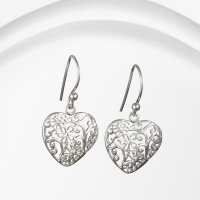 Banyan - Silver Filigree Heart Earrings