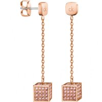 Calvin Klein - Pink Crystal Set, Rose Gold Plated Square Drop Earrings