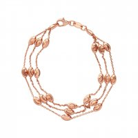 Links of London - Rose Gold Vermeil 3 Row Beaded Chain Bracelet, Size Medium