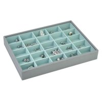 Stackers - Dove Grey Classic, Mint Lined, 25 Section Stacker Jewellery Box