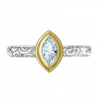 Dower and Hall - Twinkle, Aquamarine Set, Sterling Silver - Yellow Gold - Ring, Size N