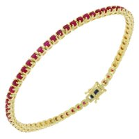Guest and Philips - 9ct Yellow Gold Ruby and Diamond Set Line Bracelet