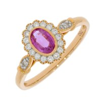 Guest and Philips - 18ct Rose Gold Pink Sapphire and Diamond Set Oval Ring