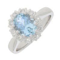 Guest and Philips - Platinum Aquamarine and Diamond Set Oval Ring