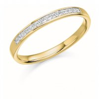 Guest and Philips - 18ct Yellow Gold and Diamond Princess Cut Half Eternity Ring Size L
