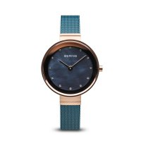 Bering - Swarovski Crystal Set, Stainless Steel - Rose Gold Plated - Mesh Bracelet Watch