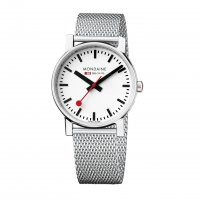 Mondaine - Stainless Steel White Dial Mesh Watch, Size 18mm