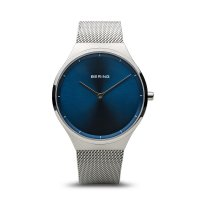 Bering - Classic, Stainless Steel Blue Face Mesh Strap Watch