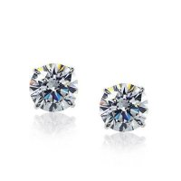 Carat London - Eternal, Cubic Zirconia, 4 Claw Set, 9ct. White Gold Stud Earrings