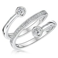 Jools - CZ Set, Sterling Silver - Ring, Size P