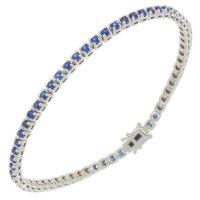 Guest and Philips - 9ct White Gold Diamond and Ceylon Sapphire Set Line Bracelet
