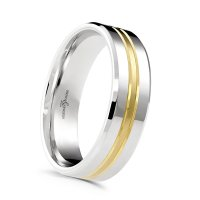 Guest and Philips - Platinum and 18ct Yellow Gold Mix Metal 6mm Wedding Band, Size T