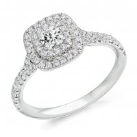 Guest and Philips - 18ct White Gold and Diamond Cushion Cut Halo Ring Cert