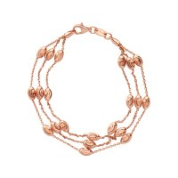 Links of London - Essentials, Rose Gold Plated 3 Row Beaded Bracelet