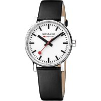 Mondaine - EVO2, Stainless Steel/Tungsten - Leather - Crystal/Glass Quartz Watch, Size 35mm