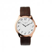 Links of London - Narrative, Rose Gold Plated Men's Brown Leather Strap Watch