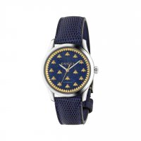 Gucci - G- Timeless, Lapis Set, Stainless Steel - Leather Bee Design Watch - YA1264122