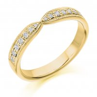 Guest and Philips - 18ct Yellow Gold Diamond Set Shaped Wedding Ring