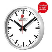 Mondaine - stop2go S, Stainless Steel/Tungsten - Smart Wall clock, Size 250mm