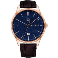 Tommy Hilfiger - Stainless Steel Leather Strap Watch
