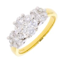 Guest and Philips - Diamond 1.00ct Set, Yellow Gold - Cluster Ring, Size O