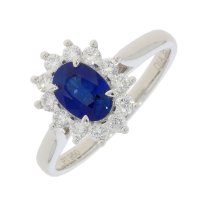 Guest and Philips - Platinum Diamond and Sapphire Set Cluster Ring Size O