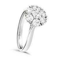 Guest and Philips - Sparkler, Dia 1x0.25 6x0.15 Set, White Gold - 18ct Cluster Ring , Size N