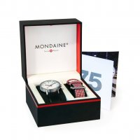 Mondaine - 75th Set, Stainless Steel - Leather - Anniversary Set, Size 40mm