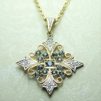 Antique Guest and Philips - Yellow Gold and White Gold Round faceted cut Blue Topaz Milligrain Filigree drop pendant