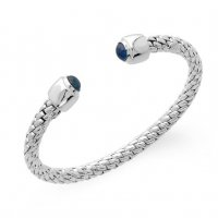 Fope - Silverfope Ice, Sapphire Set, Sterling Silver - Open Bangle