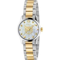 Gucci - G-Timeless, MOP Set, Stainless Steel Yellow Gold Plated - Feline Head Quartz Watch