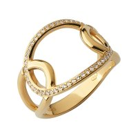 Links of London - Ovals, White Topaz Set, Yellow Gold Plated - Ring, Size N