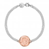 Dower and Hall - Sterling Silver Engravable Rose Gold Vermeil Disc Bracelet