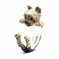 Dog Fever - Hug, Enamel - Sterling Silver - Yorkshire Terrier Ring, Size M
