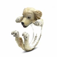 Dog Fever - Hug, Enamel - Sterling Silver - Golden Retriever, Size L