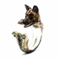 Dog Fever - Hug, Enamel - Sterling Silver - German Shepard Ring, Size M