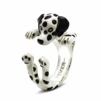 Dog Fever - Hug, Enamel - Sterling Silver - Dalmation Ring, Size M
