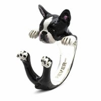 Dog Fever - Hug, Enamel - Sterling Silver - Boston Terrier Ring, Size M
