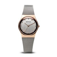 Bering - Ladies Classic, Swarovski Crystal Set, Stainless Steel With Rose Gold Plated Milanese Bracelet Watch - 12927-064