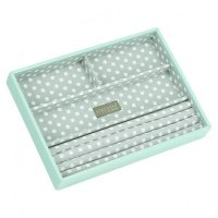Stackers - Duck Egg Blue / Grey Polka Dot, Classic 4 Section Jewellery Box