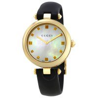 Gucci - Diamantissima , Mother of Pearl Set, Yellow Gold Plated - Leather - Watch