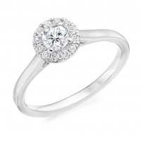 Guest and Philips - Platinum and Diamond Halo Ring, Size M