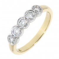 Guest and Philips - 18ct Yellow and White Gold Diamond Set 5 Stone Ring