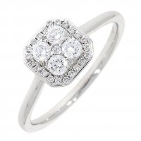 Guest and Philips - 18ct White Gold and Diamond Set Cluster Ring