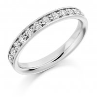 Guest and Philips - Platinum  and Diamond Milgrain Set Half Eternity Ring, Size L