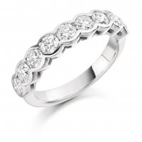 Guest and Philips - Platinum and Diamond Half Eternity Ring, Size N