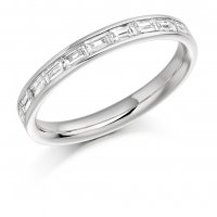 Guest and Philips - Platinum and Diamond Baguette Cut Half Eternity Ring Size M