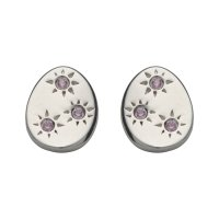 Unique - White Sapphire Set, Sterling Silver - Stud Earrings