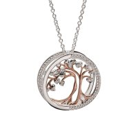 Unique - 3D, Cubic Zirconia Set, Sterling Silver - Rose Gold Plated - Tree Of Life Necklace